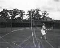 Evelyn Dearman playing tennis, probably August 7, 1935.