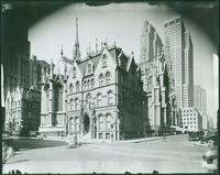 Rear of St. Patrick's Cathedral and Bishop's residence, Madison Avenue between 50th Street and 51st Street, New York City, 1935. (Roege 9413)