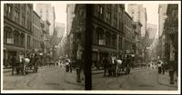 New York City: Nassau Street at Maiden Lane, looking north, undated. Stereograph.