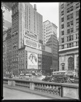 Fifth Avenue and 42nd Street, New York City, August 30, 1928: 'The Terror' (motion picture), Armour Star Ham, Colgate's Ribbon Dental Cream, Nestle's Circuline Wave. Also 4 empty billboards.