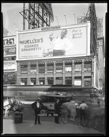 Broadway at West 47th Street, New York City, August 30, 1928: Mueller's Cooked Spaghetti, Cliquot Club Ginger Ale (partial).