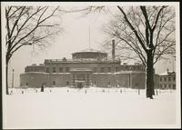 New York City: Battery Park Aquarium in snow, undated.