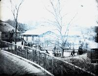 Menagerie at Central Park, New York City, April 8, 1891. Viewed from the bridge over horseback road.
