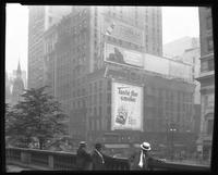 Fifth Avenue and 42nd Street, New York City, September 1925: Sunbeam Tomato Catsup, Brentano's Book Store, Venus Pencils, Camel Cigarettes. Also 4 empty billboards.