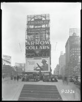 Broadway, 47th Street, and Seventh Avenue, New York City, August 23, 1926: Arrow Collars, Camel Cigarettes, Chevrolet Cars, Harvester Cigars.