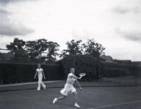Dorothy Round playing tennis, probably August 7, 1935.