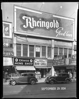 125th Street between Seventh Avenue and Lenox Avenue, New York City, September 29, 1934: Rheingold Beer. Also storefronts of Cameo Men's Shop, Orient Restaurant, Orient Photo Plays.