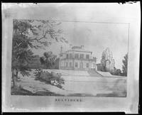 Belvidere Clubhouse, Cherry Street, New York City. Rephotograph of a print, circa 1795.