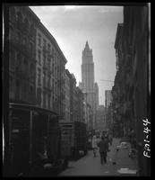 New York City: Beekman Street looking west toward the Woolworth Building,  undated.