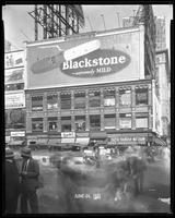 Broadway near 47th Street, New York City, June 24, 1927: Blackstone Cigars, Fisk Tires (partial), Palmolive Soap (partial).