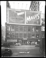 Broadway, Seventh Avenue and West 47th Street, New York City, February 29, 1928: Mavis Chocolate Drink, Blackstone Cigars. Also 1 empty billboard.