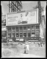 Broadway at West 47th Street, New York City, July 24, 1928: Mueller's Cooked Spaghetti, Cliquot Club Ginger Ale (partial).