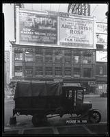 Seventh Avenue at West 47th Street, New York City, August 30, 1928: 'The Terror' (motion picture), 'Abie's Irish Rose' (motion picture), Atwater Kent Radio (partial), Veedol Motor Oils (partial).