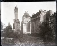 Buildings bordering Central Park, viewed from the park, New York City, undated.