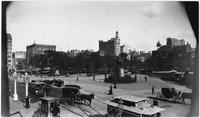 Manhattan: Union Square at 14th Street, undated [ca. 1895]. Washington statue on traffic island at 14th Street and Fourth Avenue. View from the southeast.