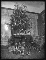 Seymour boy posed with tricycle beside Christmas tree in parlor, Christmas 1912.