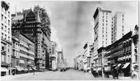 Manhattan: Fifth Avenue looking north from 32nd Street, undated. Waldorf Astoria Hotel, Knickerbocker Bank, and Brick Presbyterian Church visible.