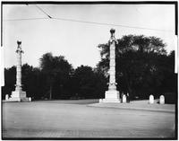 Brooklyn: pillars flanking the entrance to Prospect Park at Grand Army Plaza, undated.