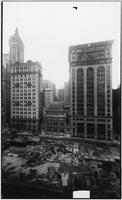 Manhattan: New York Clearing House, 77 Cedar Street between Nassau Street and Broadway, undated (ca. 1913). Singer Tower in background; Equitable Building under construction in foreground.