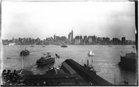 Manhattan: Lower Manhattan skyline, ships the 'Half Moon' and the 'Clermont' visible, 1909. Possibly during the Hudson-Fulton celebrations.