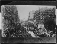 Manhattan: Washington's Centennial arch and parade on Fifth Avenue at 26th Street, April 30, 1889.