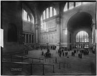Manhattan: Penn Station (i.e. Pennsylvania Station), interior looking west from stairway on the east side of the main waiting room, 1911.