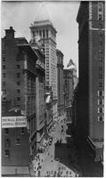 Manhattan: Broad Street looking north from below Exchange Place, undated [ca. 1905]. Stock Exchange, Federal Hall visible.