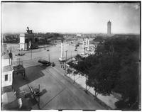 Brooklyn: Grand Army Plaza and the entrance to Prospect Park, viewed from a high angle over Prospect Park West, undated. Tower at Mount Prospect visible to right.