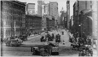 Manhattan: Wall Street, looking west from South Street, undated [ca. 1905].