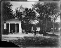 Brooklyn: entrance to Prospect Park, with many people on bicycles, undated.