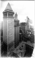 Manhattan: high-angle view of Bankers Trust Company Building and Nassau Street, 1912.