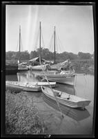 Huntington, Long Island: [unidentified small dinghy's and sailboats moored in an inlet, undated.]