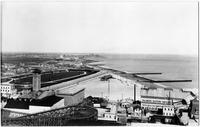 Brooklyn: high-angle shot of Coney Island, Manhattan Beach, Brighton Beach, Balmer's Baths undated. Large rollercoaster visible in distance.