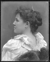 Portrait of unidentified female Hall relative [Kim or R.M. Hall?], undated. Profile shot.