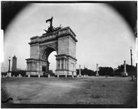 Brooklyn: view looking past the triumphal arch at Grand Army Plaza to the entrance to Prospect Park, undated. Tower at Mount Prospect visible to left.