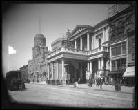 New York City: the 14th Street Theatre, West 14th Street between Sixth and Seventh Avenue, undated. 9th Regiment Armory also visible.