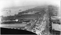 Manhattan: high-angle view of West Street and Hudson River piers looking north from Pier 13, undated [ca. 1905]. Starin Line pier, Lackawanna & Western Railroad pier, and American Line pier visible.