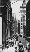 Manhattan: north side of Wall Street, looking west from William Street, 1908. Sub-treasury Building (Federal Hall), Trinity Church, and U.S. Assay Building visible.