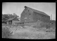 Huntington, Long Island: [unidentified old wood-shake barn or water mill, possibly used as a clam shack, undated.]