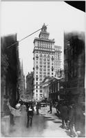 Manhattan: north side of Wall Street, looking west from William Street, undated. Sub-treasury Building (Federal Hall), Trinity Church, and U.S. Assay Building visible.