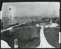 Manhattan: high-angle shot of Battery Park, undated. Harbor and Castle Garden / New York City Aquarium visible.