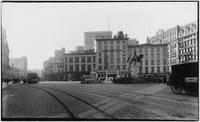 Manhattan: east side of Union Square, undated [ca. 1905]. Morton House, B.F. Keith's Union Square Theatre, and George Washington statue visible.