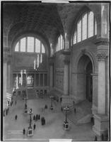 Manhattan: interior entry hall and ticketing office of Penn Station (i.e. Pennsylvania Station), 1911.