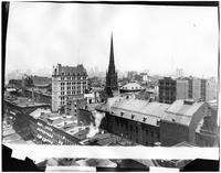 Brooklyn: rooftop view of Brooklyn Heights, undated. Remsen Street, Holy Trinity Church, and the old Academy of Music visible.