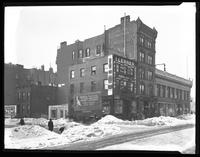 2038-2040 Amsterdam Avenue and 503 W. 161st Street, New York, undated (ca. 1920). Jumel Building visible, in snow. Probably photographed for Joseph P. Day.