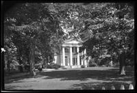 Manhasset / Roslyn / Little Neck / Douglaston / Alley Road, Long Island: [unidentified Greek-revival mansion with white-columned entryway, landscaped garden, undated.]
