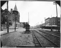 Brooklyn: Atlantic Avenue train crossing, undated. 26th Ward Bank and the Oriental Building visible.