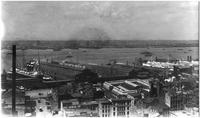 Manhattan: High-angle view of Hudson River and Manhattan docks along West Street, looking northwest, undated (ca. 1905). American Line Pier visible.