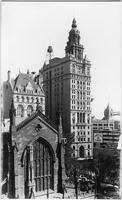 Manhattan: Manhattan Life Insurance Building, 66 Broadway; and Union Trust Company of New York, 80 Broadway, undated. Trinity Church and cemetery visible in foreground.
