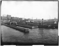 Brooklyn: Montague Street - Wall Street ferry terminal, undated. View from the river, showing waterfront and Brooklyn Heights